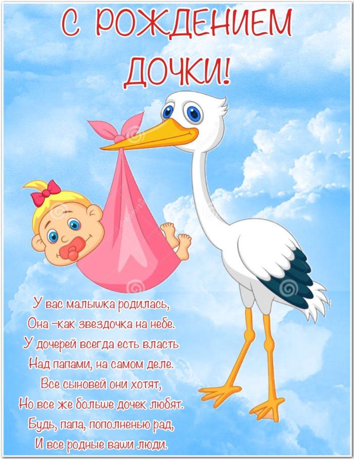 Поздравление с рождением дочери красивые открытки
