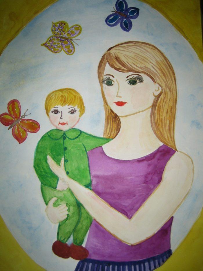 Детские рисунки мать и дитя