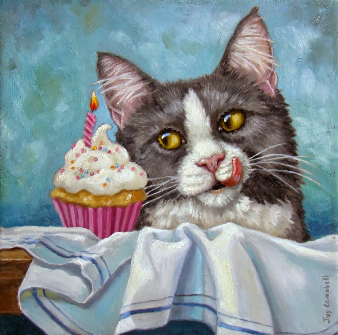 Картинки с днем рождения кот с тортом