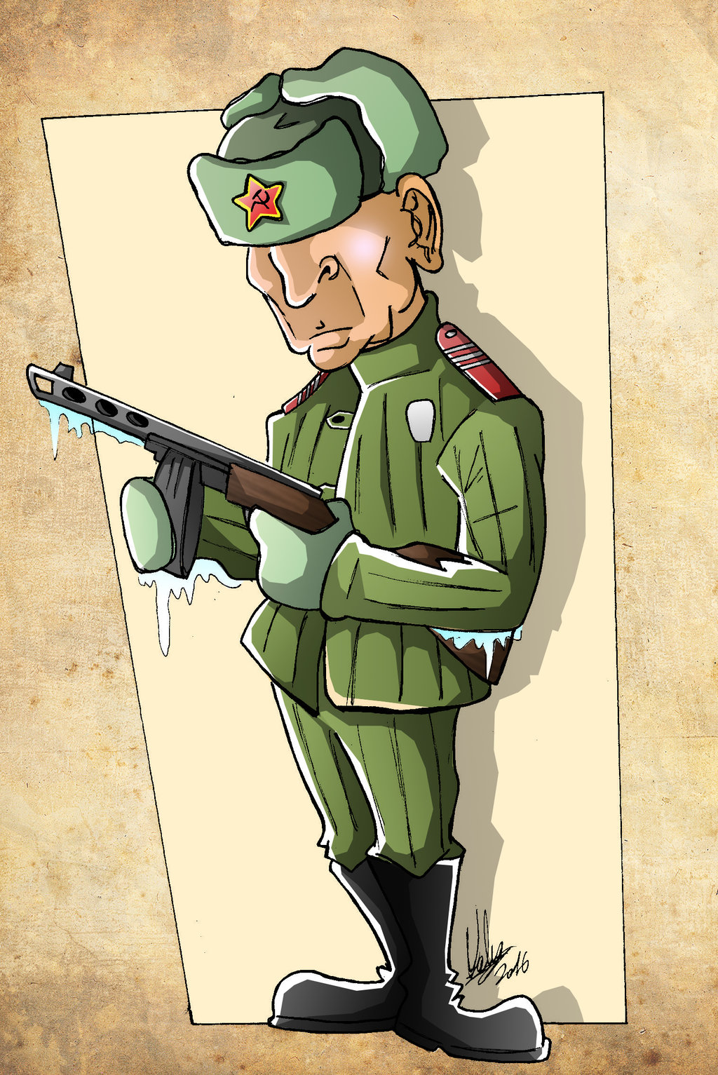Рисунок смешной военного
