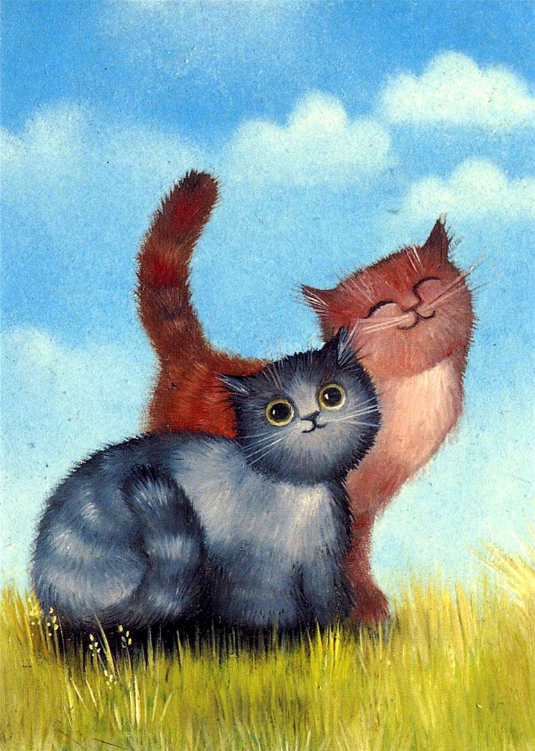 Открытка кот нарисован, открытка февраля