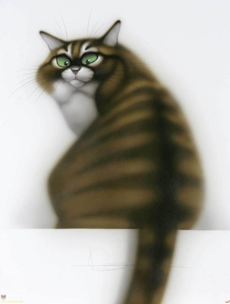 Картинки смешных рисованных кошек, прощай