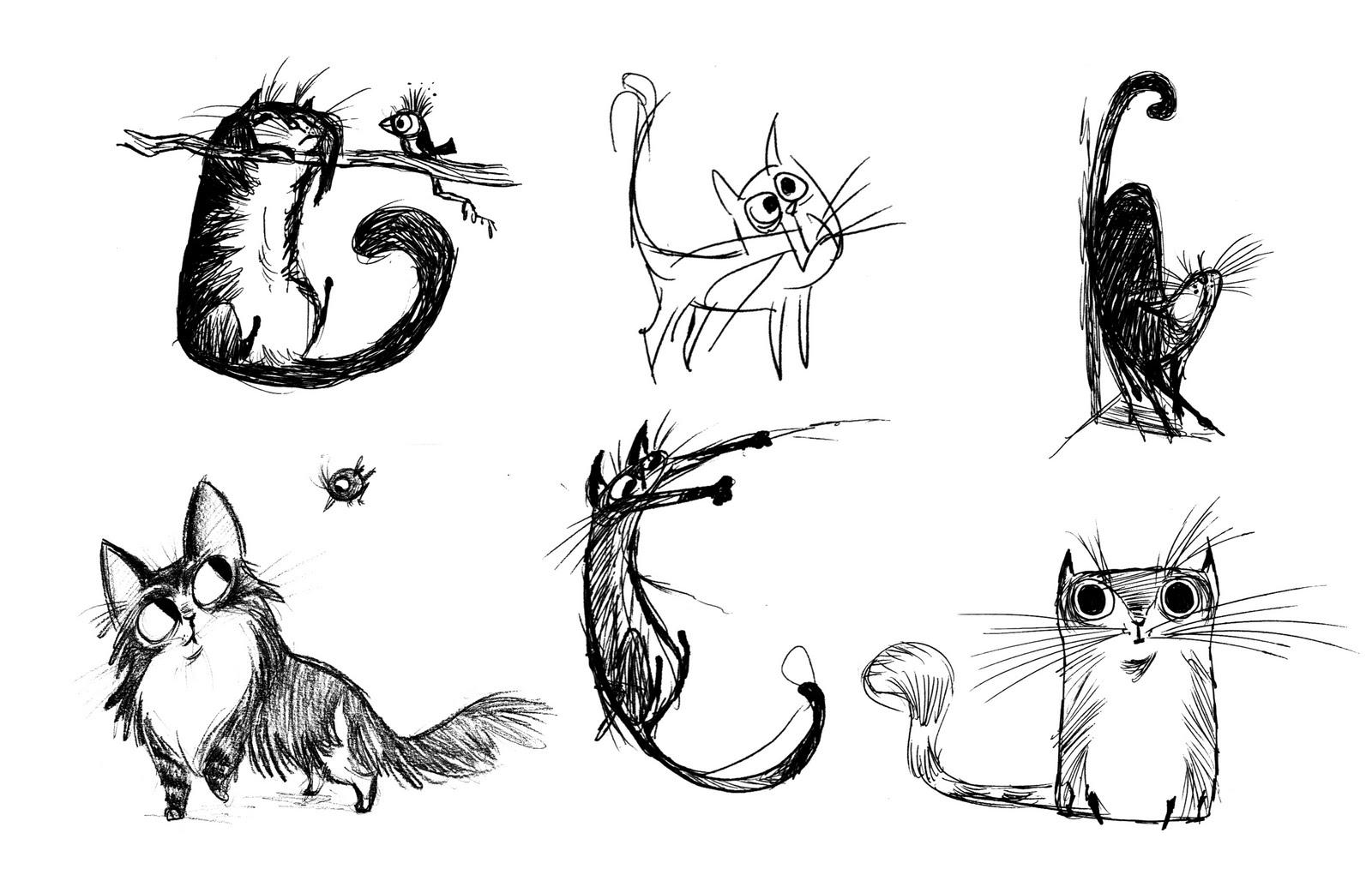 прикольные рисунки с котами простые напечатанное изображение