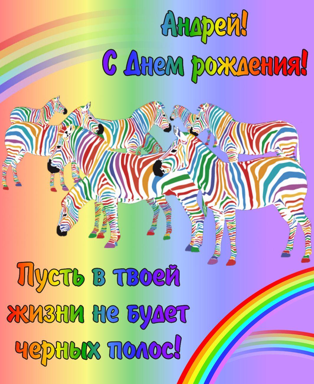 Хорошего вечера, открытка с днем рождения с зеброй