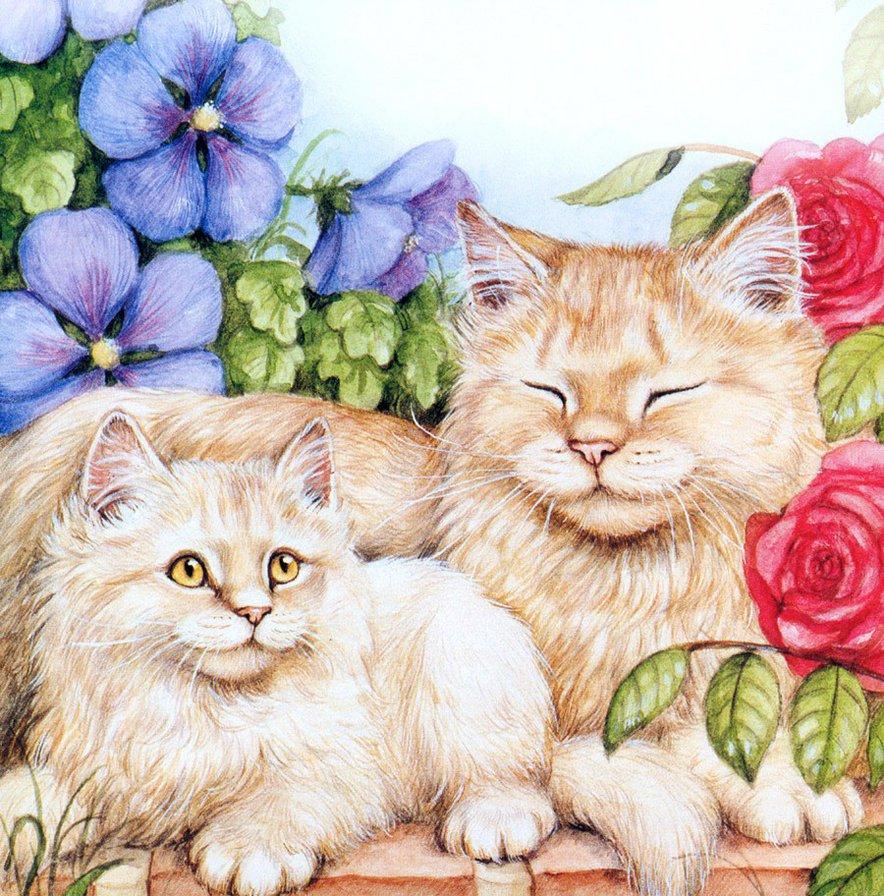Картинки красивые с котятами кошками нарисованные