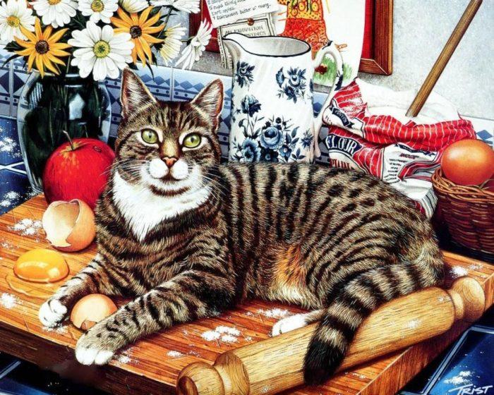кот полосатый открытка того