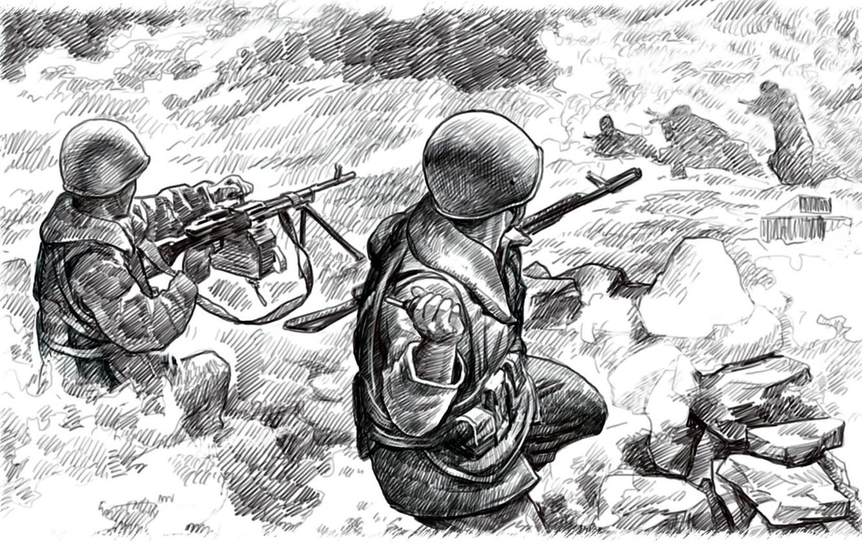 Поэтапно карандашом война картинки