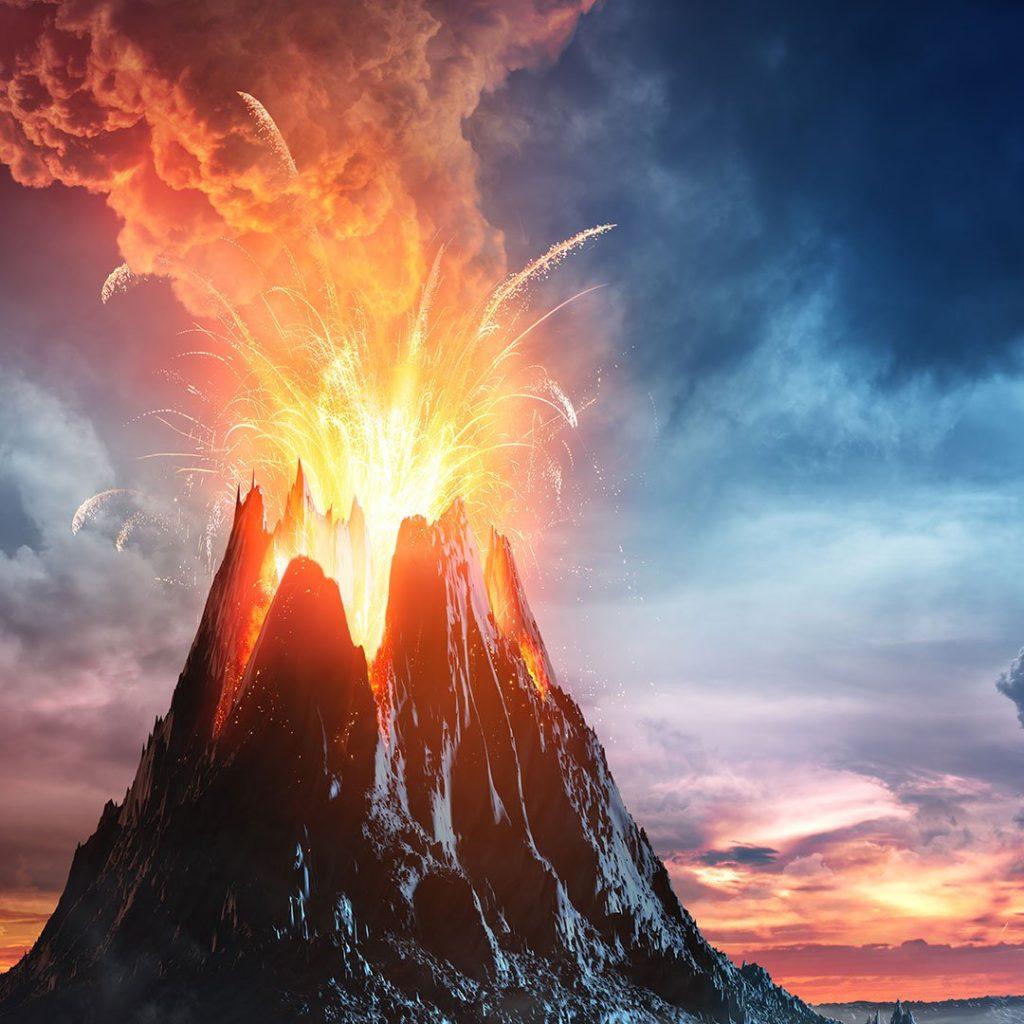 Вулкан извергается картинка