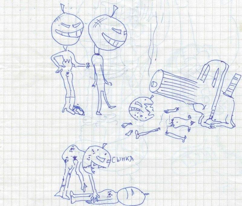 Прикольные рисунки в тетрадь в клеточку