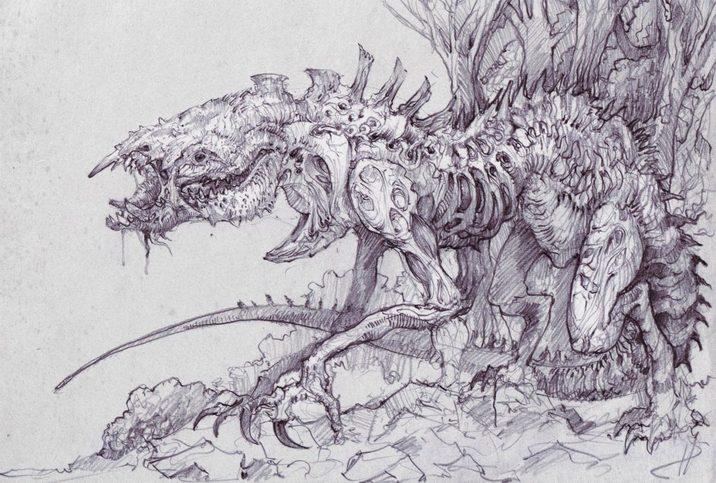 завершении рисунки больших монстров растительным маслом