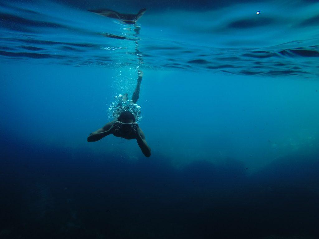 кон один фото плывущего под водой человека листьев был убит